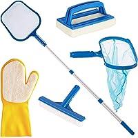 All in One Hot Tub Swimming Pool Cleaning Maintenance Kit | 1.2m Telescopic Pole + Deep Rake Net + Leaf Skimmer Net + Wall Brush + Scrubbing Pad + Scrubbing Glove | By Simple Future