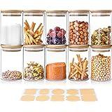 Glasförvaringsburkar 250 ml, uppsättning av 10 glasburkar med bambulock och etiketter, lufttät behållare kök matförvaring beh