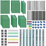 WayinTop Doble Cara Junta de PCB Prototipo con Kit de Componentes de Electrónica, 2.54mm Conector + 2/3Pin PCB Bloque de Term
