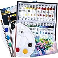 EXTSUD Colori Acrilici Bambini per Dipingere Set Pittura include 24 Tubetti Tempera da 12ml, 3 Pennelli, Tavolozza, Tela…