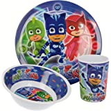 PJ Masks | | Set Vajilla de Melamina Infantil - Resistente I Servicio de Mesa Libre de BPA para niños y bebés - 3 Piezas: Vas