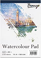 Bianyo Watercolour Paper Pad, 180 GSM, A5 Size, 15 Sheets