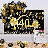 APERIL 40 Años Decoración de Cumpleaños Oro Negro, Globos de Cumpleaños Hombre Mujer, Póster de Tela Globos Negros Oro Globos