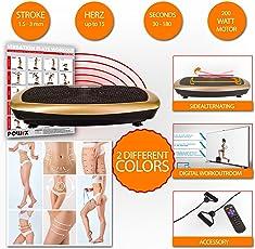 POWRX Vibrationsplatte Basic inkl. Workout - Schwarz-Gold/Schwarz-Rot Mobile Vibrationsplatte Functional Fitness