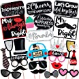 Wobbox Anniversary Photo Booth Party Props DIY Kit, Red Glitter & Black , Anniversary Party Decoration 24 Pcs