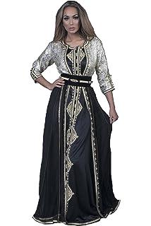 Caftan Belissima Robe Orientale Col Bateau Pour Ceremonie Du Hallal Mariage Fiancaille Islamique Amazon Fr Vetements Et Accessoires