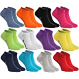 Rainbow Socks - Hombre Mujer Calcetines Cortos Colores de Algodón - 12 Pares - Negro Blanco Gris Púrpura Azul Marino Azul de
