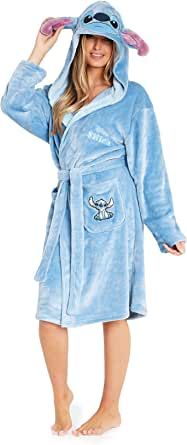 Disney Ladies Dressing Gown, Lilo and Stitch Fleece Hooded Robe, Gifts for Women