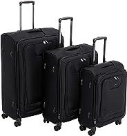 AmazonBasics - Premium-Weichschalen-Trolley mit TSA-Schloss, erweiterbar, 3-teiliges Set à (53 cm, 64 cm, 74 cm), Schwarz