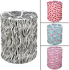 RC Pop-Up Round Foldable Multipurpose Fabric Laundry Basket(Multicolour, Standard)
