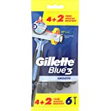 Gillette Blue3 Smooth Wegwerpmesjes Voor Mannen 6 stuks, Scheermesje Met 3 Mesjes, 40° Draaiende Scheerkop, Lubrastrip Met Co