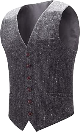 BOTVELA Men's Slim Fit Herringbone Tweed Waistcoat Full Back Wool Blend Suit Vest
