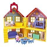 Jazwares 92620 – domek rodzinny Peppa, zestaw do zabawy z akcesoriami, zestaw do zabawy z 3 ruchomymi Peppami, kominiarzem i