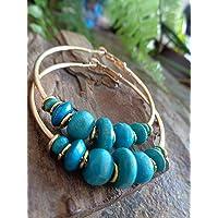 ꧁ CERCHI IN LEGNO ORO E TURCHESE 5 CM ꧂ Orecchini in oro turchese azzurro realizzati con materiali naturali