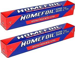 Homefoil Food Grade Aluminium foil - 21m, Pack of 2 (21x2=42 meters)