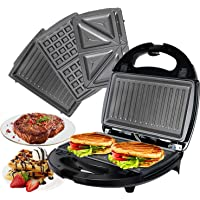 OZAVO 3 en 1 Sandwich Grill, Sandwitch Toaster, Croque Gaufre, Appareil à Croque-monsieur en Acier Inoxydable, 750W…
