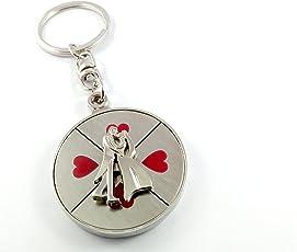 Generic Couple Rotating Lover Metal Keychain (Silver,Kera_53)