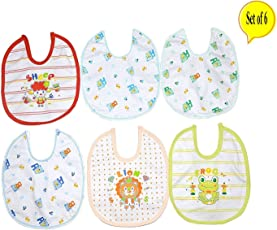 Baby Bucket Premium Bib Easily Clean Comfortable Soft Baby Bibs Keep Stains Off after Meals for Babies or Toddlers 0-12 Months (Set Of 6)