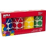 Apli Kids 10753 Pack de 4 rouleaux de gommettes formes et couleurs assorties (bleu, rouge, jaune, vert) 5428 unités