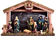 FizzyTech Wooden Stable with Miniature Nativity Statues/Christmas Crib