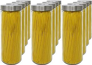 Set 12 Vorratsdosen aus Glas, 1,77 L (31x10 cm), mit Schraubverschluss.