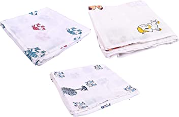 Mom's Home Organic Cotton Baby Muslin Cloth Swaddle - Pack of 3 - (0-12 Months) 92x92 - Kids Elephant Horse