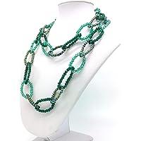 Collana da Donna catena, in cristalli color verde, Fatta a Mano