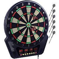Elektronische Dartscheibe Dardboard mit 4 LCD-Anzeige und Ladeadapter Geeignet, 6 Dartpfeilen und 24 Pfeilkopf 27 Spiele…