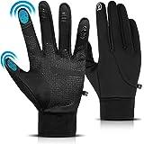 Amstory Guanti Invernali Termici per Uomo Donna, Guanti Moto Caldi Touch Screen Antivento Gloves Guanti Lavoro Nero Antiscivo