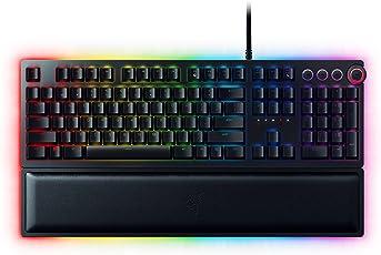 Razer Huntsman Elite Mechanische Gaming Tastatur (mit Opto-Mechanical Schaltern, Multifunktionaler Digitaler Drehregler, RGB Chroma Beleuchtung, QWERTZ-Layout)