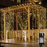 Lepro Rideau LED Lumineux 3m*3m Étanche IP44, Blanc Chaud 8 Modes, Guirlande Lumineuse pour Mariage, Noël, Chambre, Salon, Fe
