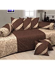 HandTex Home Presents Velvet Coffee & Gold Color Diwan Set with 1 Single Bedsheet with 5 Cushion Covers & 2 Blosters (Set of 8 pcs)