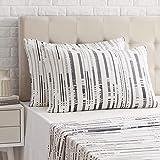 Amazon Basics Taie d'oreiller en satin - 50 x 80 cm x 2, Rayures anthracites texturées