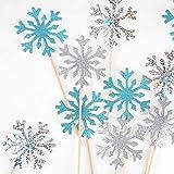 HOWAF 30pcs paillettes flocon de neige Cupcake Toppers pour Noël décorations de gâteaux congelés, flocon de neige Cake Topper