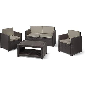 Allibert Lounge-Set Monaco 4tlg, braun/taupe: Amazon.de: Garten