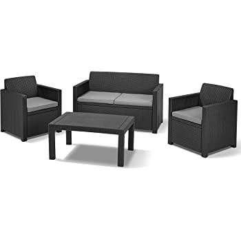 Amazon.de: Allibert Lounge-Set Merano 4tlg, graphit/cool grey