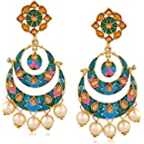 Oviya Gold Plated Enchanting Multicolour Meenakari Earrings with Artificial Beads ER2109609G