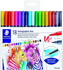 STAEDTLER Double Ended Watercolor Brush Markers, marsgraphic Duo, for Illustrations, Detail Work, Manga and Expressive Lettering, 18 Colors 3000TB18LU