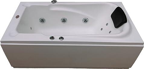 MADONNA Bonn Acrylic Bath Tub with Jacuzzi Massage and Back Massager System - White, 13821