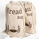 Lot de 2 sac à pain New Living 100% lin biologique, réutilisables, qualité alimentaire 38x 27cm