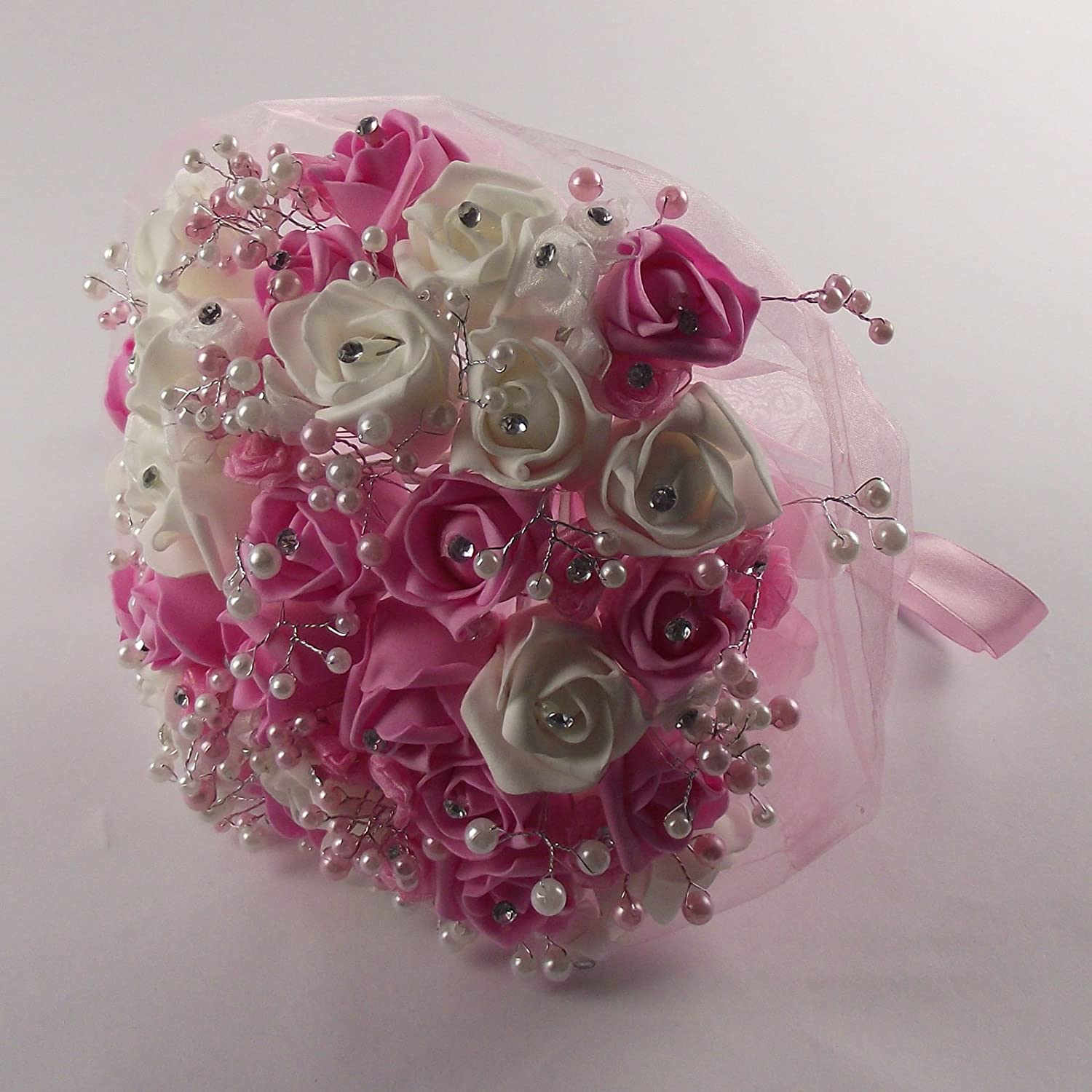 Wedding accessories pearls flowers pearls - Foam Rose Bud Diamante And Pearl Bridal Bouquet Artificial Wedding Flowers Pink Amazon Co Uk Kitchen Home