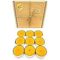 Teelichter Bienenwachs Handgemacht aus 100% Bienenwachs in silbernen Aluhüllen Geschenkset 9 Stück