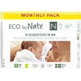 Eco by Naty Baby Nappies, Newborn, 100 Ct, Plant-based with 0% Oil Plastic on Skin, One Month Supply