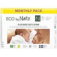 Eco by Naty, Taglia 0, 100 pannolini, -4.5kg, fornitura di UN MESE, Pannolino eco premium a base vegetale con lo 0% di…