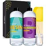 Clear Epoxy Resin Kit Resin Kits For Beginners - 2 part 32 Oz (940 ml) Clear Resin Starter Kit and Hardener - Casting…