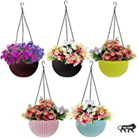 PET Plastic Hanging Flower Pot, Multicolour, 3 Pcs