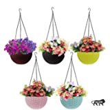 Generic Antier 3 PCS Hanging Baskets Rattan Waven Flower Pot Plant Pot with Hanging Chain for Houseplants Garden Balcony Deco