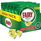 Fairy Tout-en1 Plus Pastilles Lave-Vaisselle, Peps Citron Défie les taches les plus coriaces, 120 Doses (5 x 24)