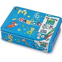 CARIOCA Color Box   Pennarelli Lavabili per Bambini Scatola Latta Blu, Set Pennarelli Punta Fine e Punta Grossa con…