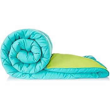Amazon Brand - Solimo Microfibre Reversible Comforter, Double (Aqua Blue & Olive Green, 200 GSM)